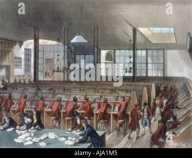 General Post Office, Lombard Street, London, 1808. Artist: Thomas Rowlandson - Stock Photo