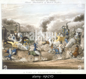 'The Progress of Steam. A View in Regent's Park, 1831', 1828. Artist: Unknown - Stock Photo