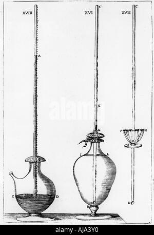 Experimental barometers used by the Accademia dell Cimento, Florence, Italy, 1691. Artist: Unknown - Stock Photo