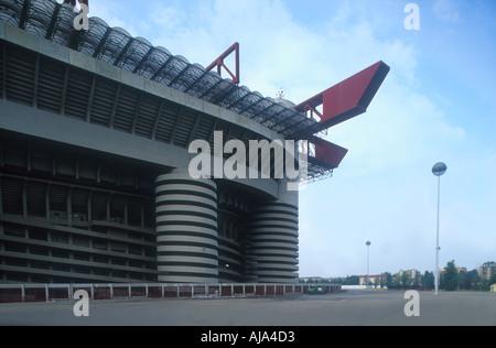 exterior of th europian football stadium stadio San Siro or Giuseppe Meazza Milan Lombardy Italy Europe  - Stock Photo