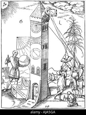 Surveying and timekeeping, 1551. Artist: Unknown - Stock Photo