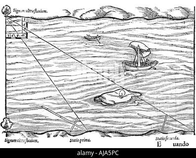 Cross-staffs used for surveying, 1551. Artist: Unknown - Stock Photo