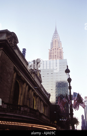 Looking up at the Chrysler Building on 42nd st in New York City - Stock Photo