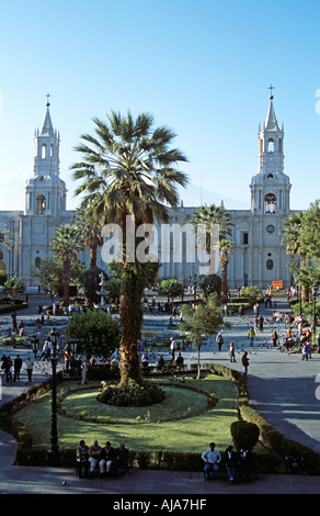 Arequipa Cathedral, Plaza de Armas, Arequipa, Peru - Stock Photo