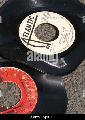 two old vinyl music records - Stock Photo