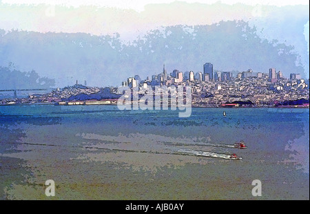 A shot of San Francisco skyline in the mid 80's, taken from the Golden Gate Bridge. Painterly effect would make - Stock Photo