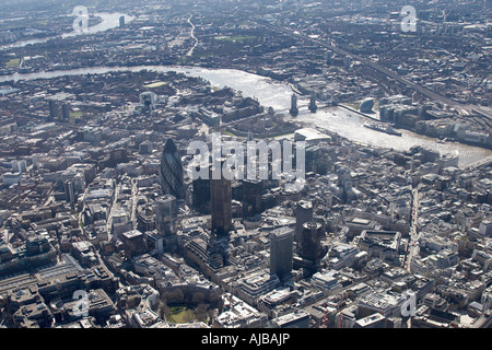 Aerial view south east of The City of London Shadwell River Thames Bermondsey and Rotherhithe E1 EC2 EC3 and SE16 - Stock Photo