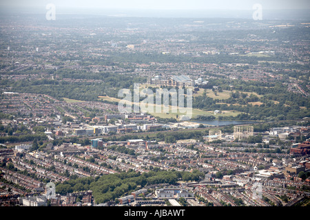 Aerial view south west of Alexandra Palace Alexandra Park and Wood Green Haringey London N22 England UK High level - Stock Photo