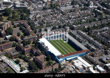 Aerial view south west of Queens Park rangers F C football stadium BBC TV Centre suburban housing London zzz England - Stock Photo