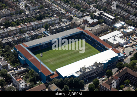 Aerial view south west of Queens Park Rangers F C football stadium London W12 England UK High level oblique - Stock Photo