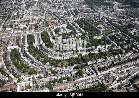 Aerial view east of Ladbroke Grove suburban housing Nottinghill London W11 England UK High level oblique - Stock Photo