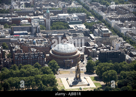 Aerial view south of Albert Memorial Hyde Park Royal Albert Hall City of Westminster London SW7 England UK High - Stock Photo