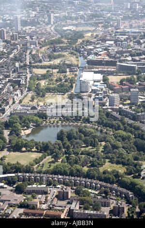 Aerial view south east of Virtoria Park Mile End Park Tower Hamlets London 2E E3 England UK High level oblique - Stock Photo