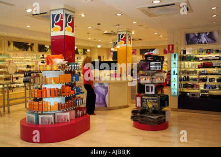 Duty free shop in Andorra La Vella, The capital city of the principality - Stock Photo