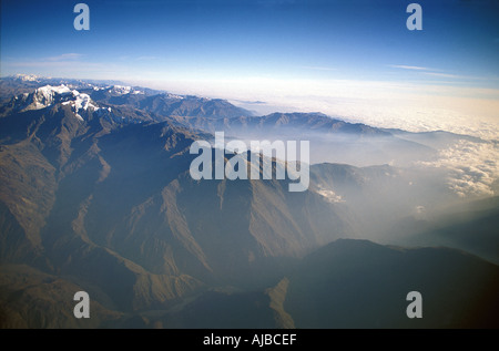Aerial view of the Andes surrounding La Paz Bolivia whilst leaving from the capital s airport Cordillera Real Bolivia - Stock Photo