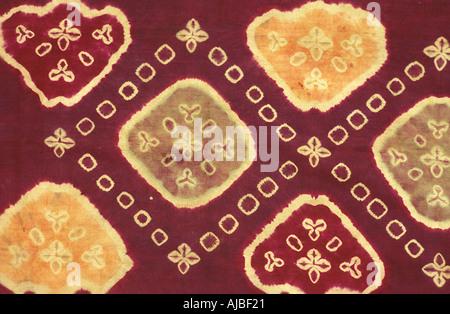 Plangi a tie dye method decorated silk fabric Bali Indonesia - Stock Photo