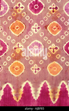 Plangi a tie dye method decorated silk fabric Bali Indonesia - Stock Photo