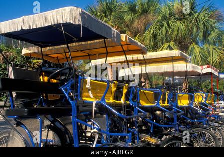 pedal bike, cycle with shade tops, rental bikes sanibel captiva islands southwest florida barrier island lee county - Stock Photo