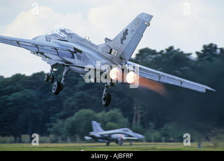 The Panavia Tornado is to take off on full afterburner - Stock Photo
