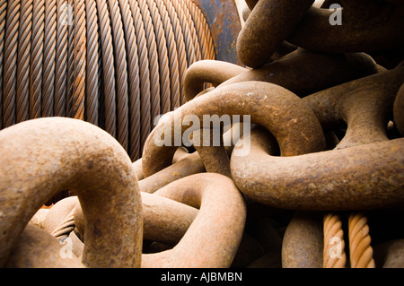 A Close-up of an Anchor Chain - Stock Photo