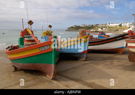 Colouful Fishing Boats Lined up at Arniston Slipway - Stock Photo