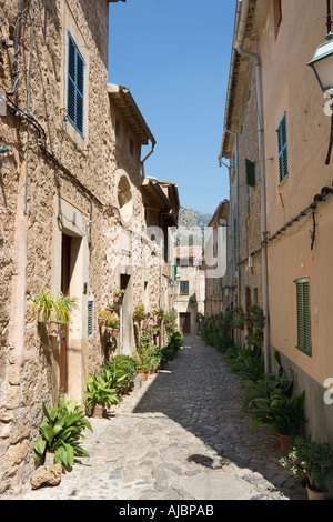Narrow Cobbled Street in the Old Town of Valldemossa, West Coast, Mallorca, Spain - Stock Photo