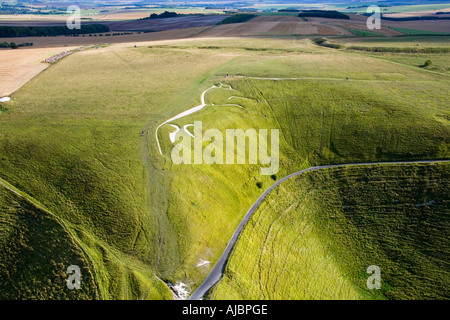 The ancient White Horse chalk figure at Uffington Oxfordshire England from the air JMH1711 - Stock Photo