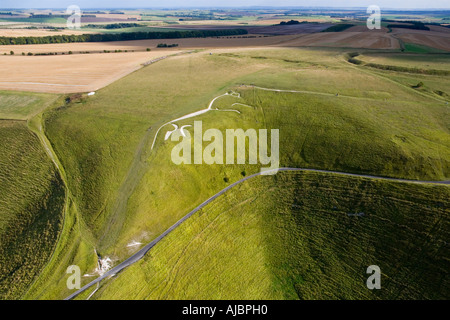 The ancient White Horse chalk figure at Uffington Oxfordshire England from the air JMH1712 - Stock Photo