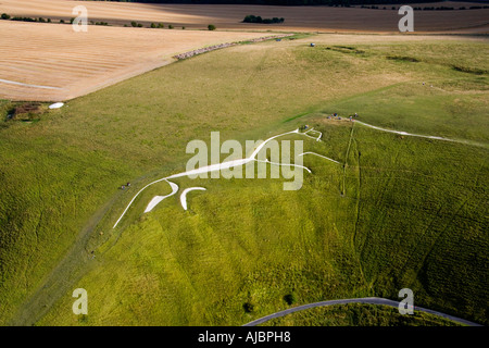 The ancient White Horse chalk figure at Uffington Oxfordshire England from the air JMH1713 - Stock Photo