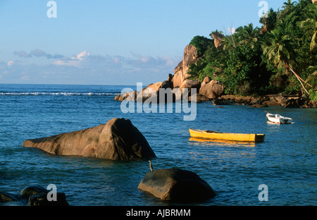 Scenic View of Two Boats Anchored in a Bay - Stock Photo