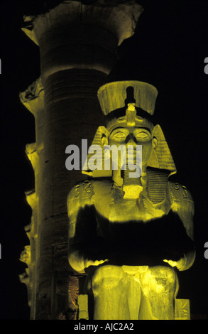 Luxor Temple at night Egyptial antiquities Luxor Egypt Court of Amenhotep and Ramses II at night - Stock Photo