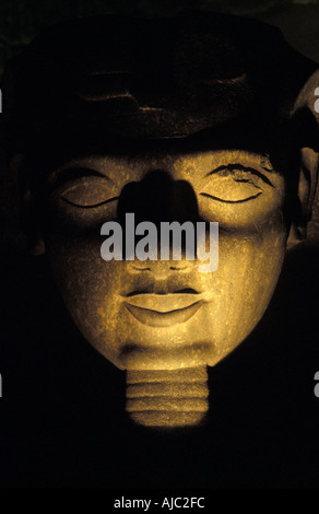 Luxor Temple at night Egyptial antiquities Luxor Egypt Ramses II s collosal head - Stock Photo