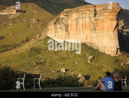 Couple Looking out at Brandwag Buttress - Stock Photo