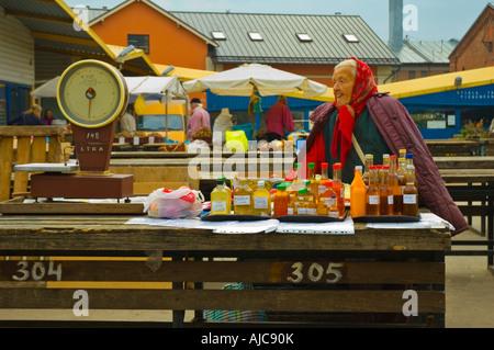 Herbal drink seller centraltirgus central market Riga Latvia EU - Stock Photo