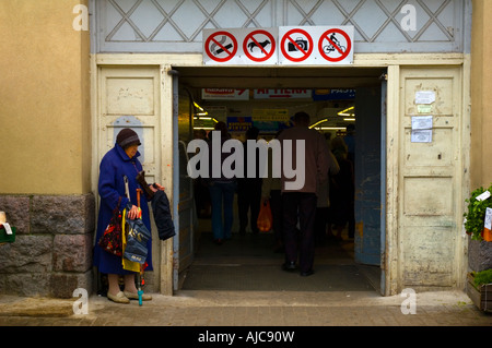 Woman selling bags centraltirgus central market Riga Latvia EU - Stock Photo