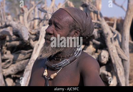 Himba Chief Kaokoveld tribal areas North west of Opuwo Namibia - Stock Photo