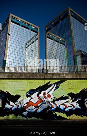 Italy, Milan. 2007. Lorenteggio bridge. Street art - Stock Photo