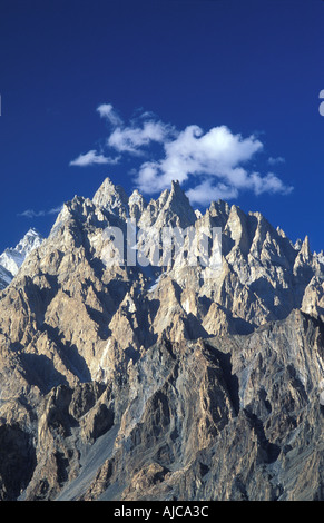 The Tupopdan or Cathedral Spires of Passu 6106m Visible from the Karakoram Highway Gojal Upper Hunza N Pakistan - Stock Photo