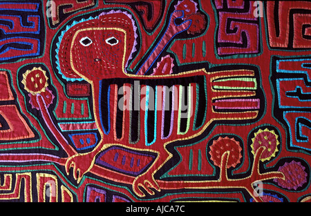 Applique decoration applied to blouses Molas of the Kuna Indians San Blas Islands Panama - Stock Photo
