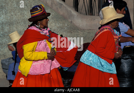 Brightly dressed Quechua women from Caraz Northern Peru - Stock Photo