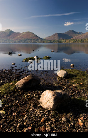 Derwentwater with Cat Bells in background, Lake District, England - Stock Photo