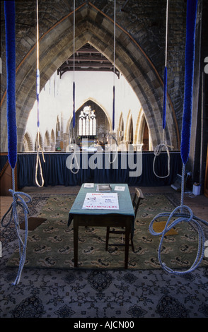BELL RINGERS ROPES, St mary's Church Barton on Humber - Stock Photo