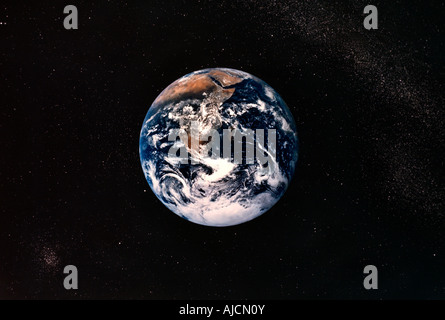 Earth from Space Africa planet circle round circular - Stock Photo