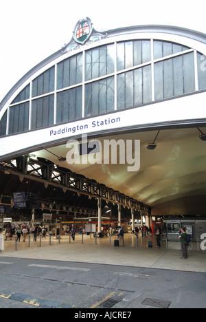London Paddington railway terminal main line train station passenger entrance England UK - Stock Photo
