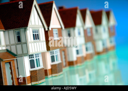 Row of model houses - Stock Photo