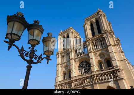 View of the West Front of Notre Dame Cathedral with street lights, Paris, France - Stock Photo
