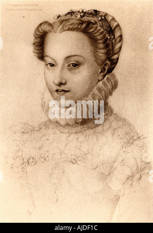Elisabeth of Austria, 1554 1592. Queen of France  as the wife of King Charles IX, daughter of Emperor Maximilian - Stock Photo