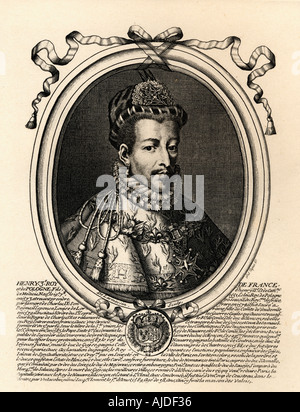 Henry III 1551 -1589, king of France, 1574 - 1589.  Son of King Henry II and Catherine de Medici.  From an engraving - Stock Photo