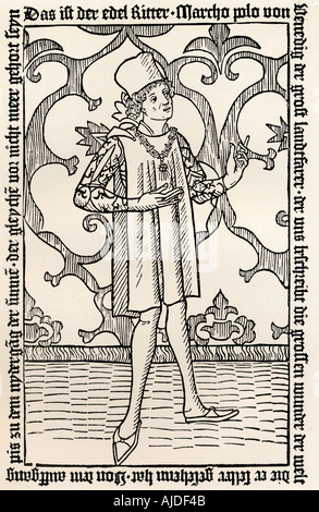 Marco Polo, 1254 -1324  Italian merchant, explorer, and writer. From frontspiece to first German edition of his - Stock Photo