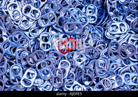 Aluminum Soda Can Tabs Being saved for funding of wheelchairs - Stock Photo